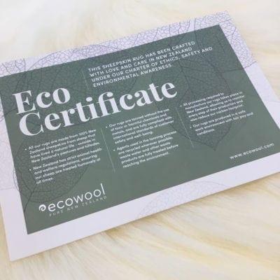 Ecowool Sheepskin Rug Certificate