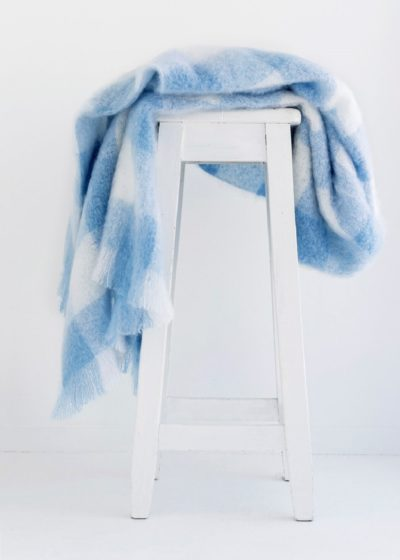 mohair throw sky check - ecowool