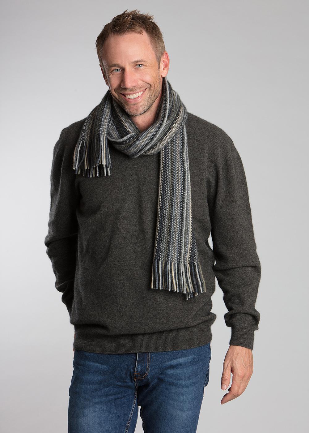 Possum Merino Multi Stripe Scarf Knitwear Accessories Ecowool