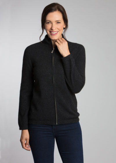 possum merino ladies zip jacket charcoal - ecowool
