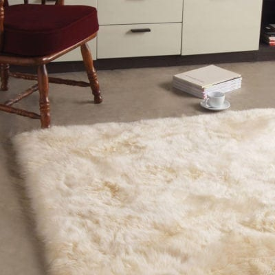 Bowron sheepskin longwool rug rectangle- ivory