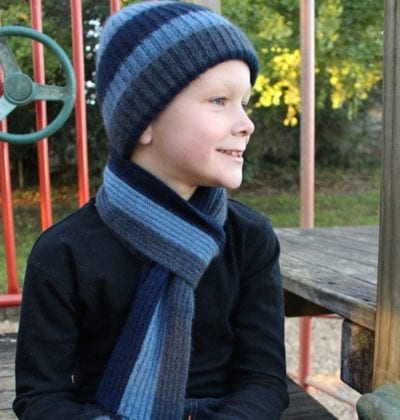 possum merino kids striped beanie - ecowool