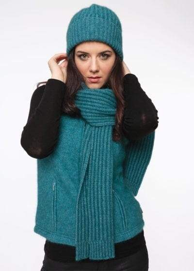 Possum merino ribbed scarf and pom pom beanie lagoon marine by Ecowool
