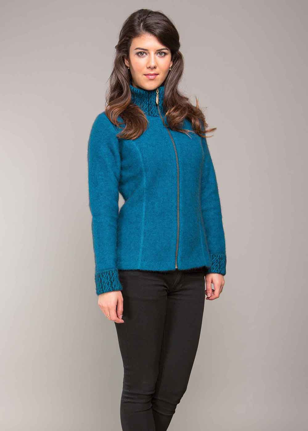 KO476 Possumsilk Two tone Jacket - pacific black