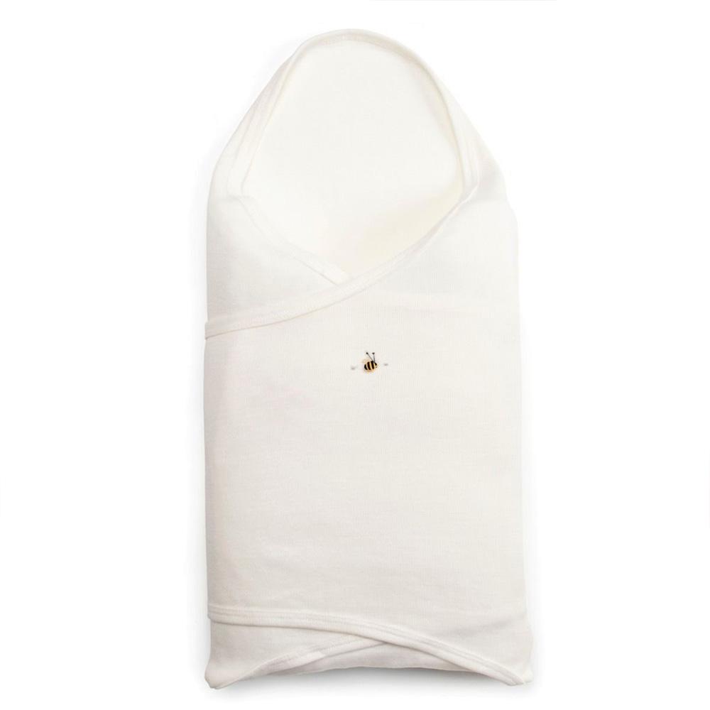 merino baby swaddle wrap cream bee - ecowool