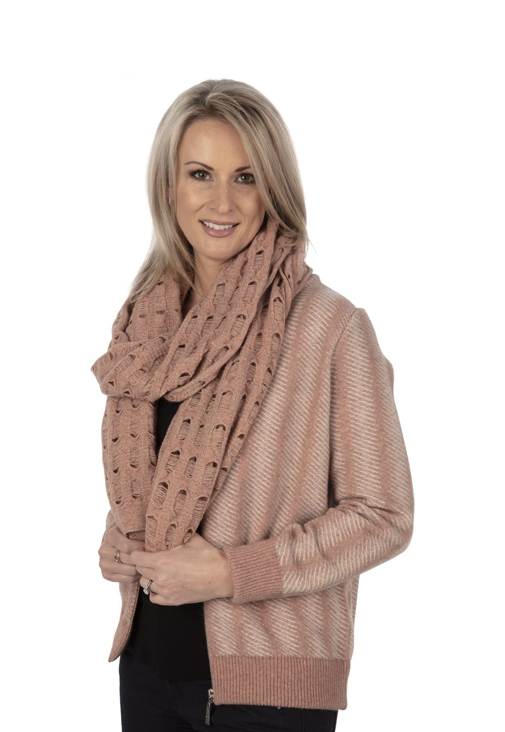 Possum merino ladder scarf and Bomber jacket in pearl