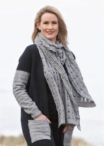possum merino ladder scarf silver - ecowool