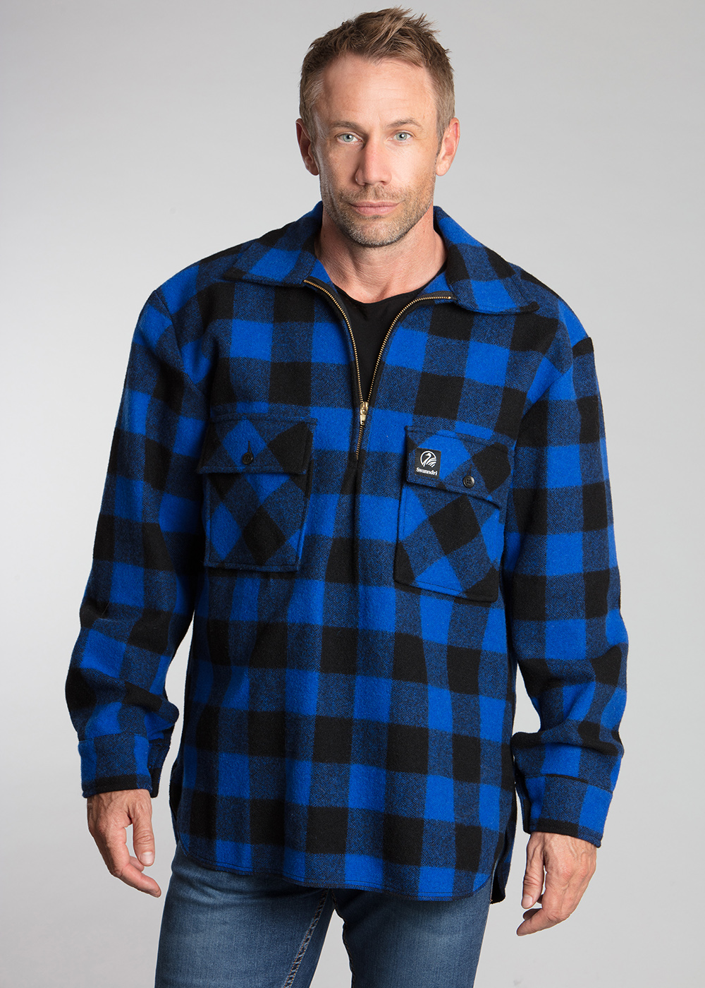 swanndri ranger shirt blue black check - ecowool