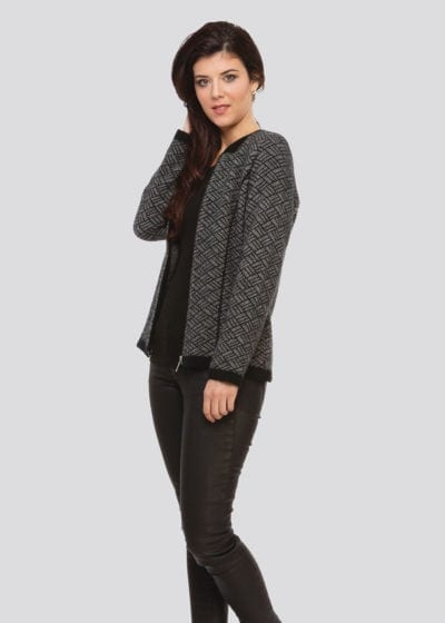 Possum Merino womens jacket with Geometric black white pattern Ecowool