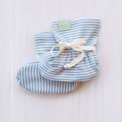 organic merino baby booties north sea stripe - ecowool