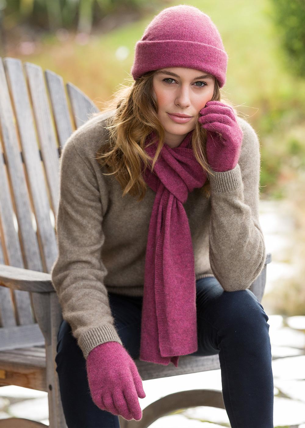 possum merino plain glove & scarf gloves rosay - ecowool
