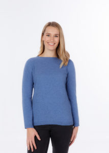 possum merino crew neck plain sweater bluebell - ecowool