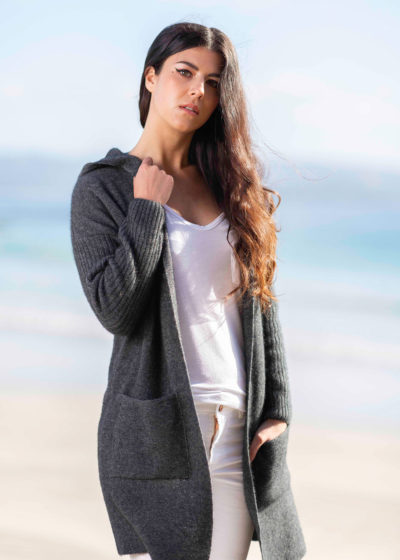 possum merino hooded longline cardigan grey- ecowool