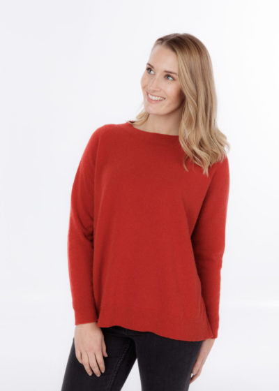 possum merino lounge sweater ruby - ecowool