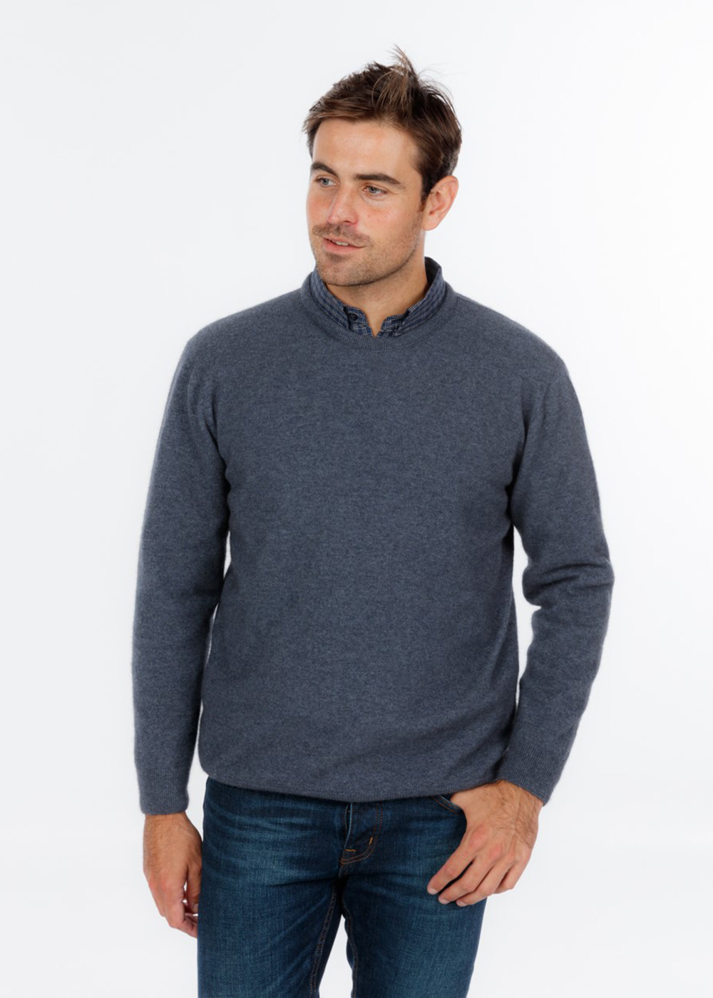 possum merino crew neck plain sweater sky ecowool