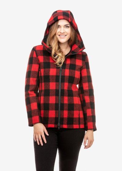 swanndri seattle hoody red black check - ecowool
