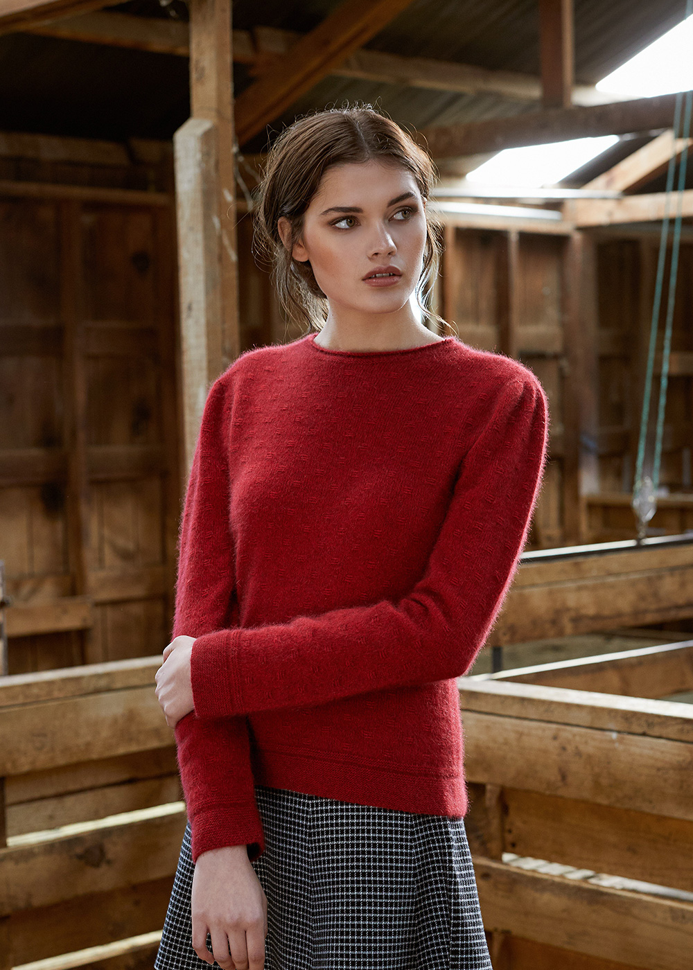 possum merino float stitch sweater red ecowool