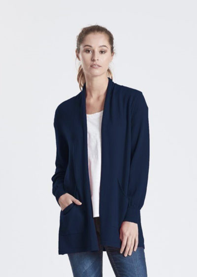 merino open front cardigan light navy ecowool