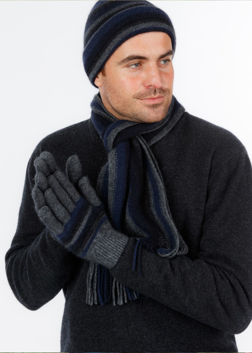 possum merino striped glove and beanie graphite - ecowool