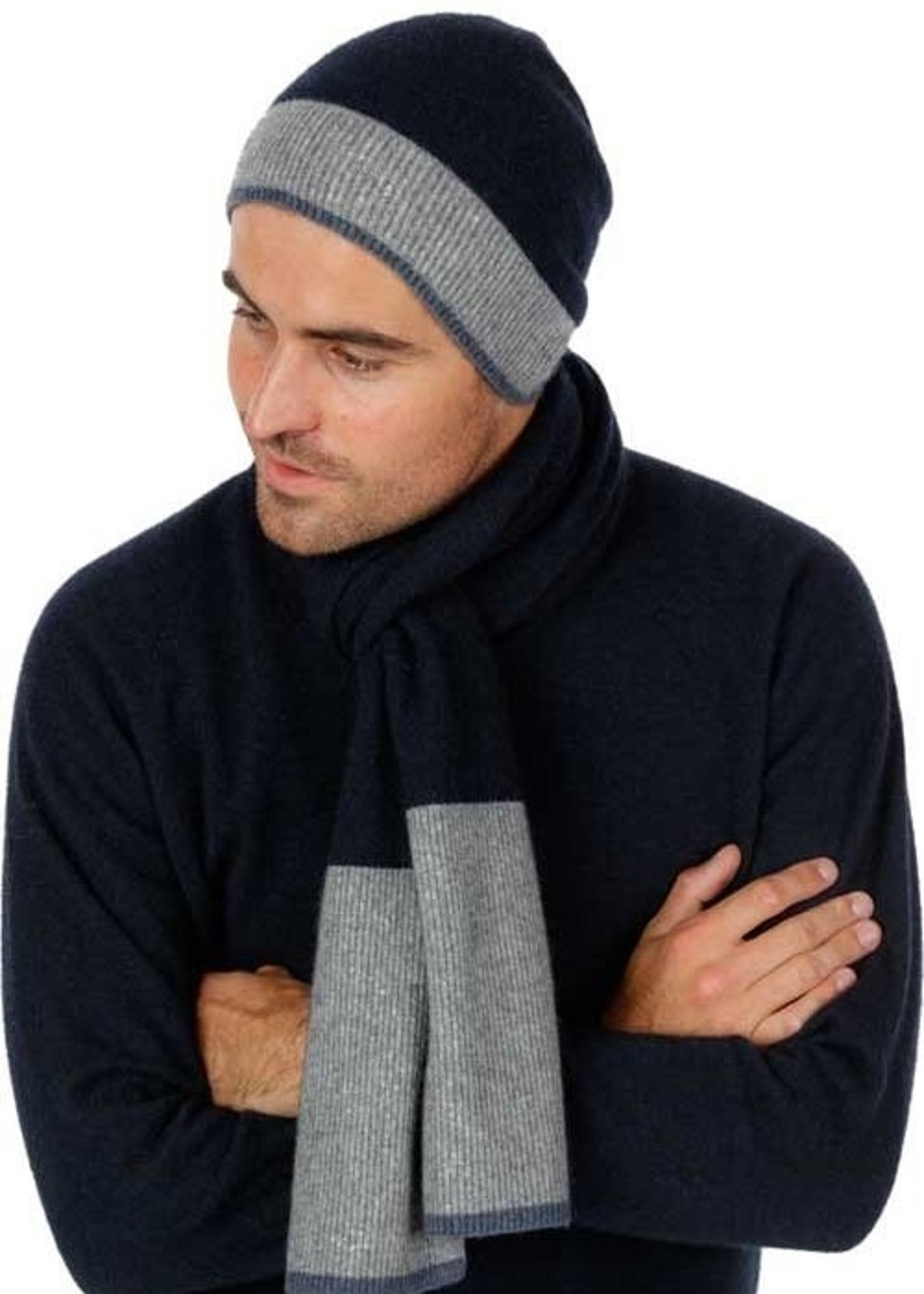 possum merino sports stripe scarf ink - ecowool