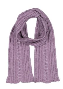 possum merino cable scarf lilac - ecowool
