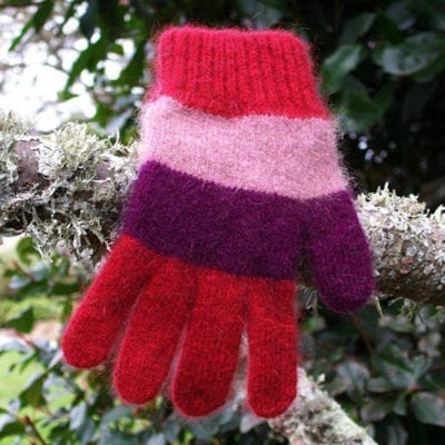 Ecowool Child's Striped Gloves - Red